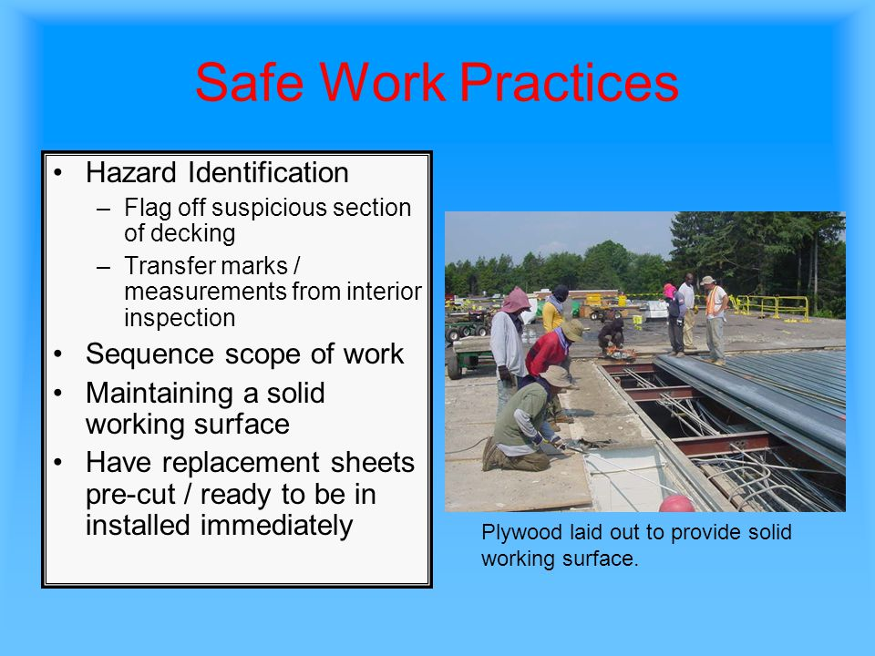 Safe Work Practices Hazard Identification Sequence scope of work