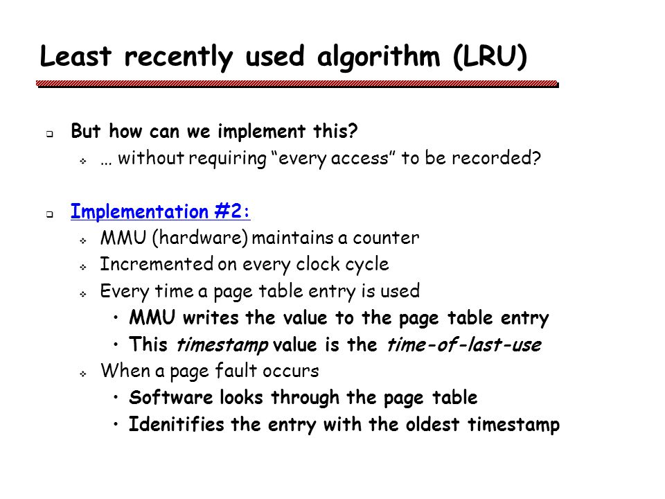 Least recently used algorithm (LRU)