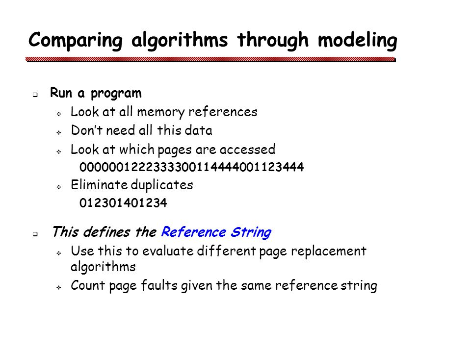 Comparing algorithms through modeling