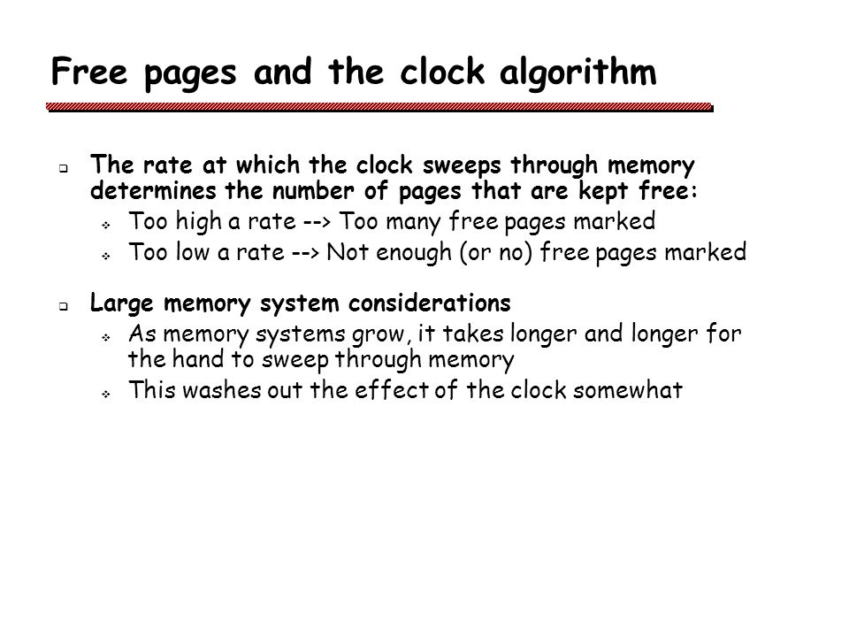 Free pages and the clock algorithm
