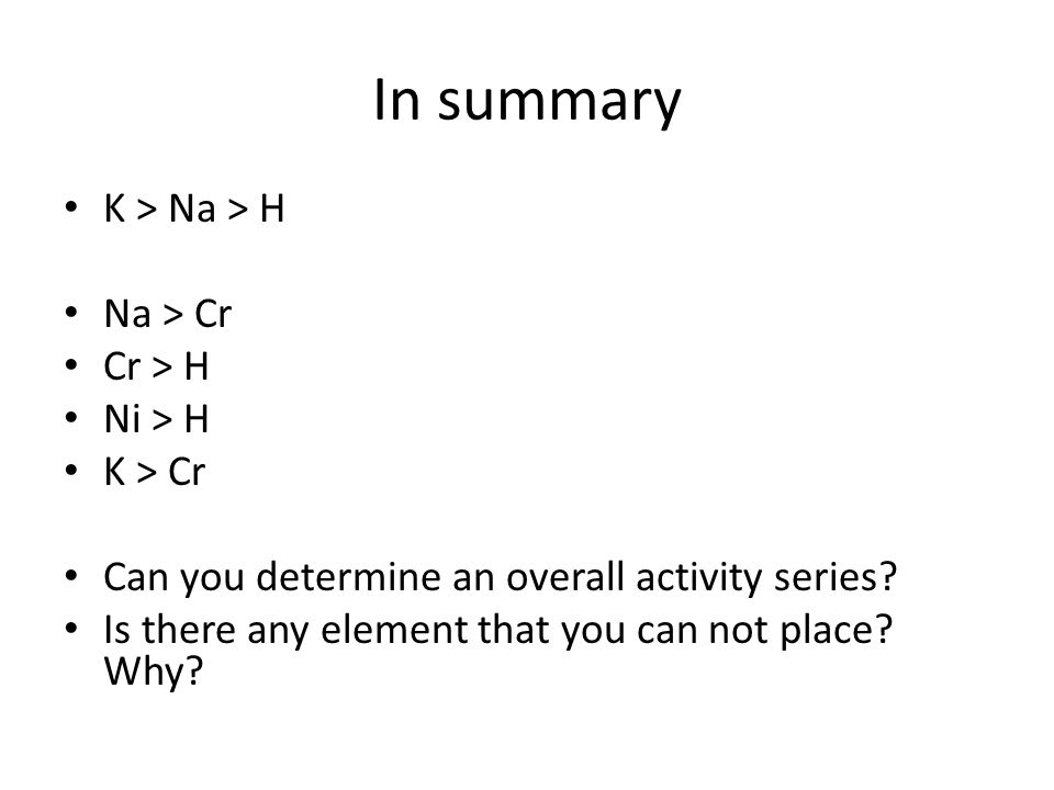In summary K > Na > H Na > Cr Cr > H Ni > H K > Cr