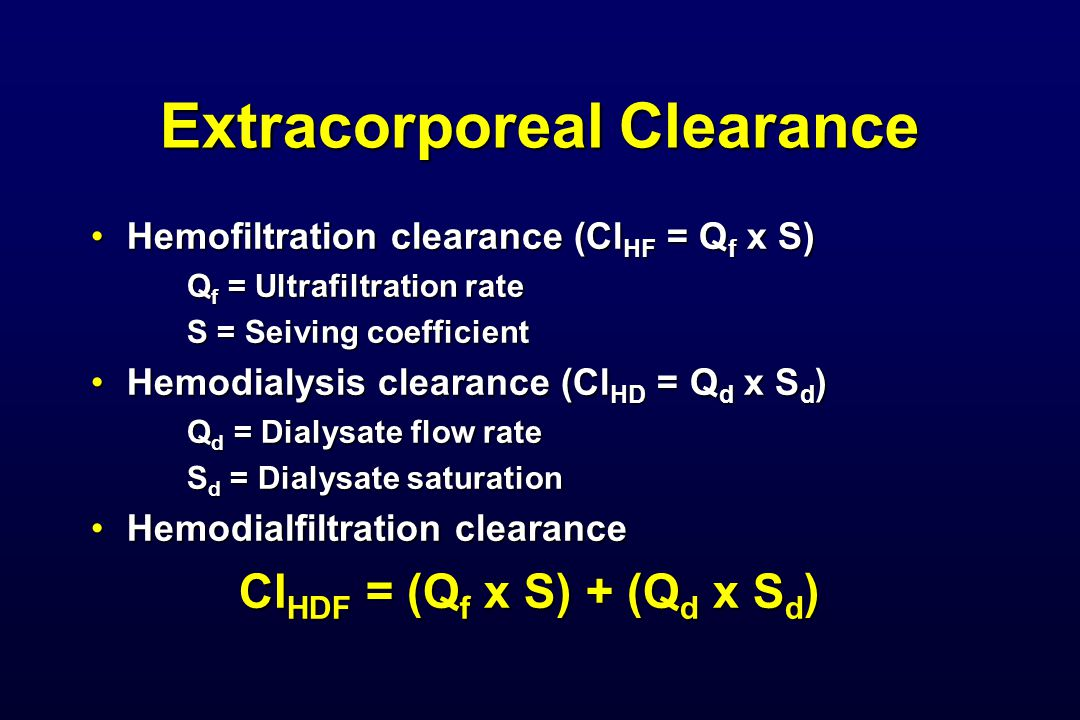 Extracorporeal Clearance