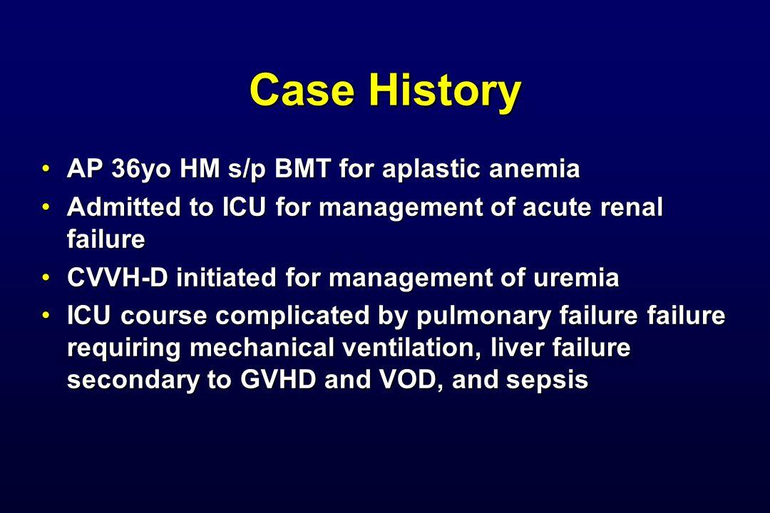 Case History AP 36yo HM s/p BMT for aplastic anemia