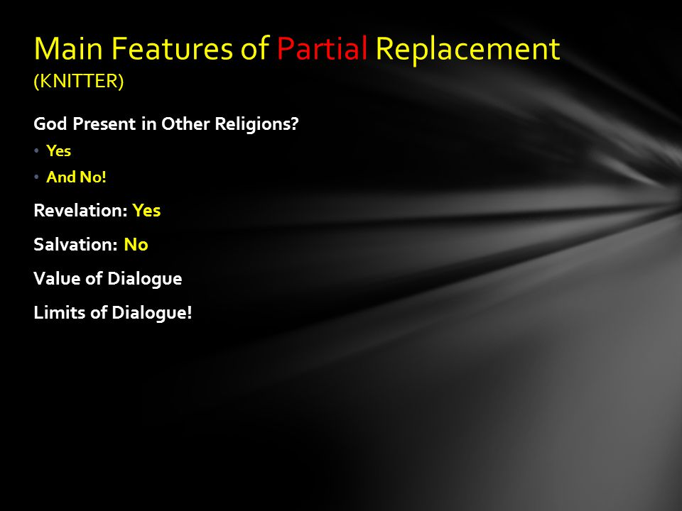 Main Features of Partial Replacement (KNITTER)