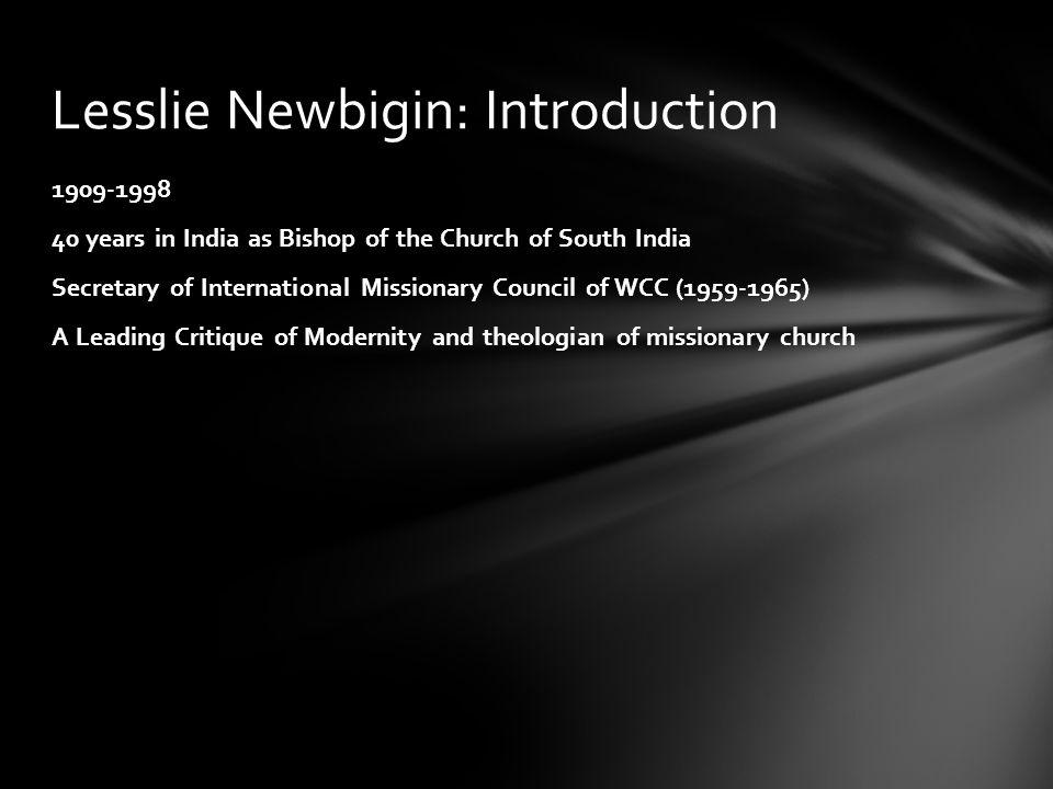 Lesslie Newbigin: Introduction