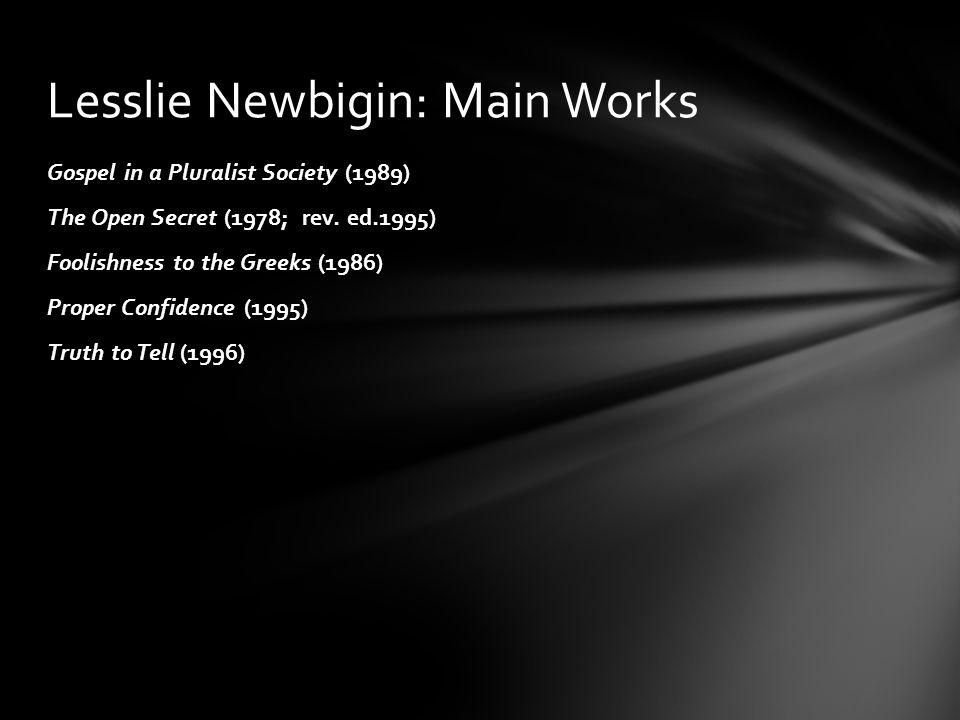 Lesslie Newbigin: Main Works