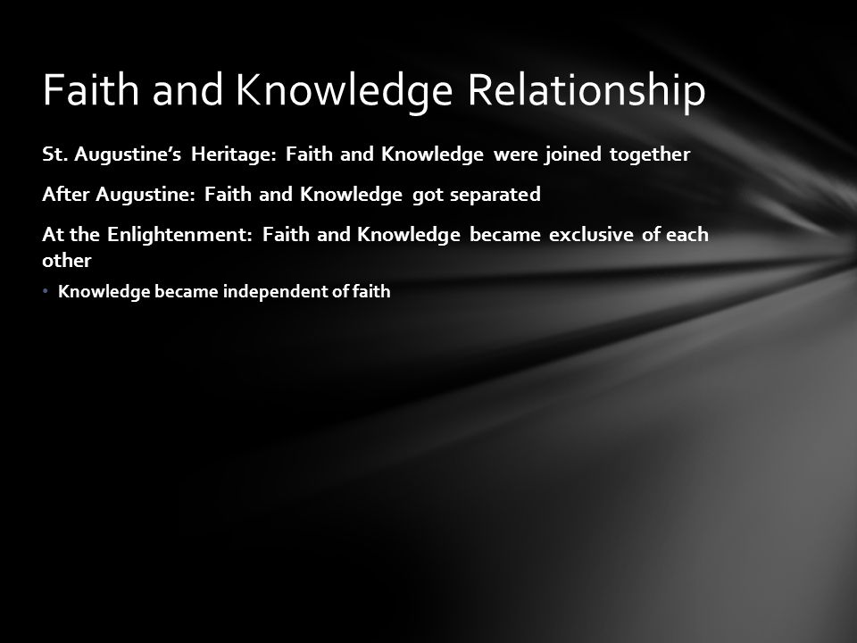 Faith and Knowledge Relationship