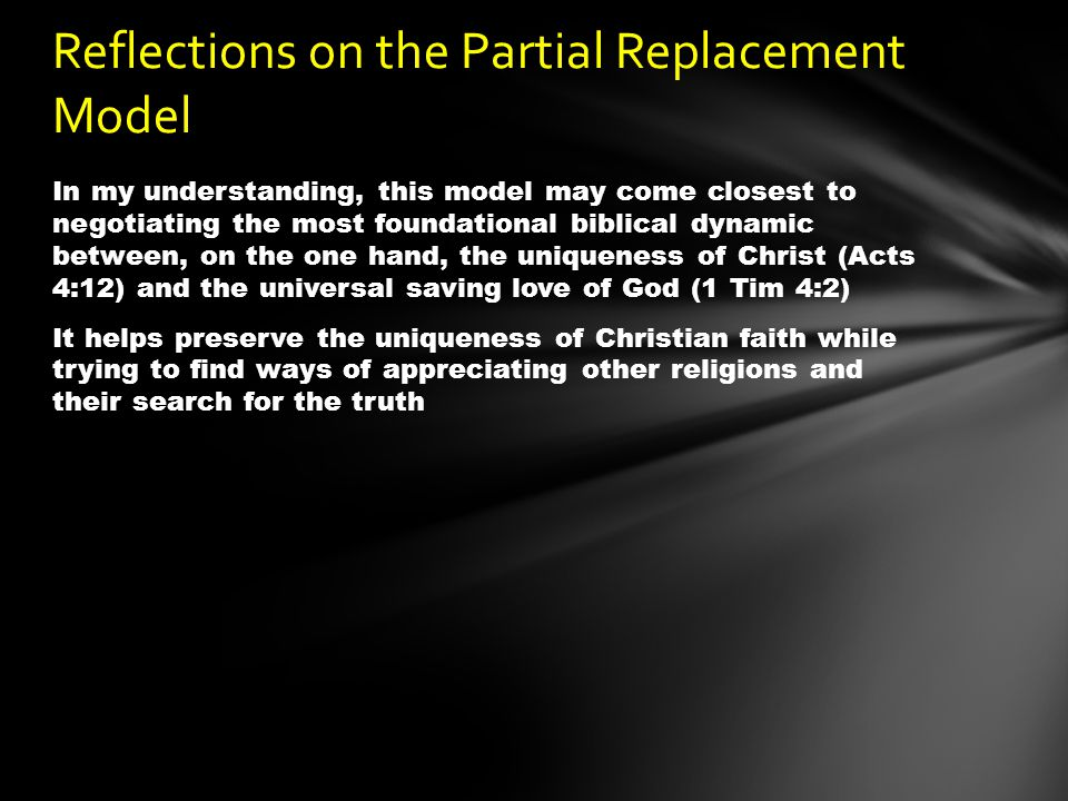 Reflections on the Partial Replacement Model