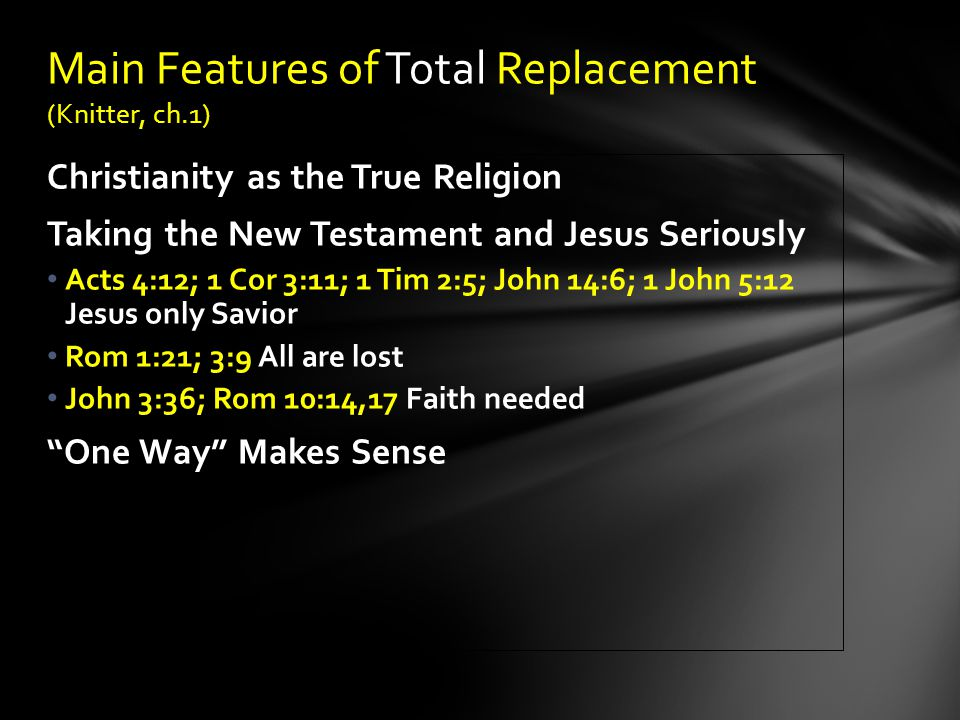 Main Features of Total Replacement (Knitter, ch.1)