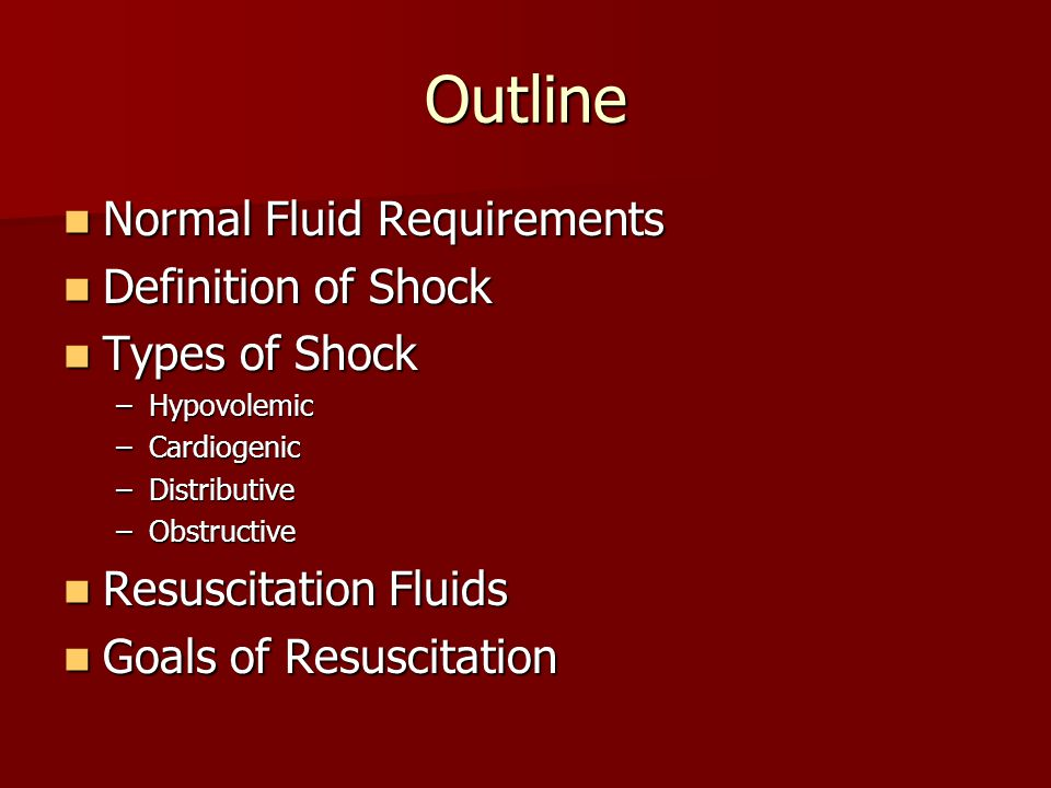 Outline Normal Fluid Requirements Definition of Shock Types of Shock