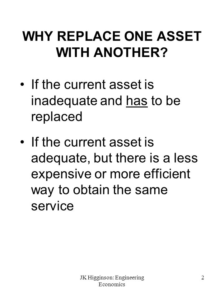 WHY REPLACE ONE ASSET WITH ANOTHER