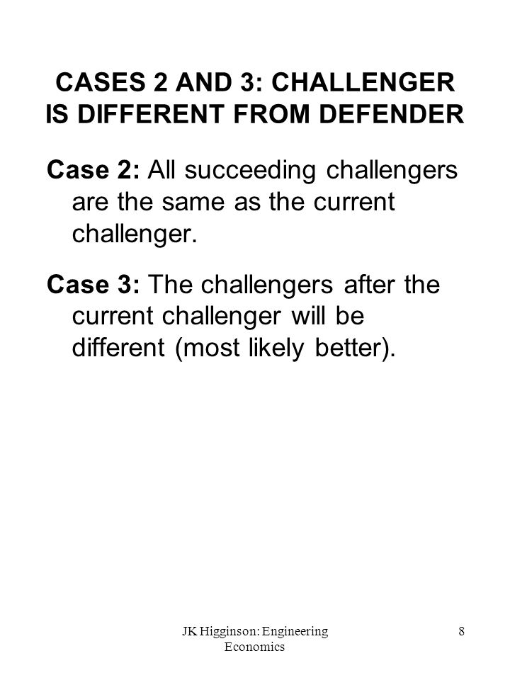 CASES 2 AND 3: CHALLENGER IS DIFFERENT FROM DEFENDER