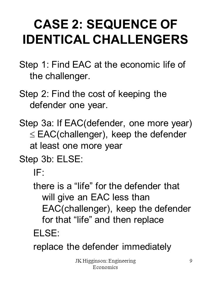 CASE 2: SEQUENCE OF IDENTICAL CHALLENGERS