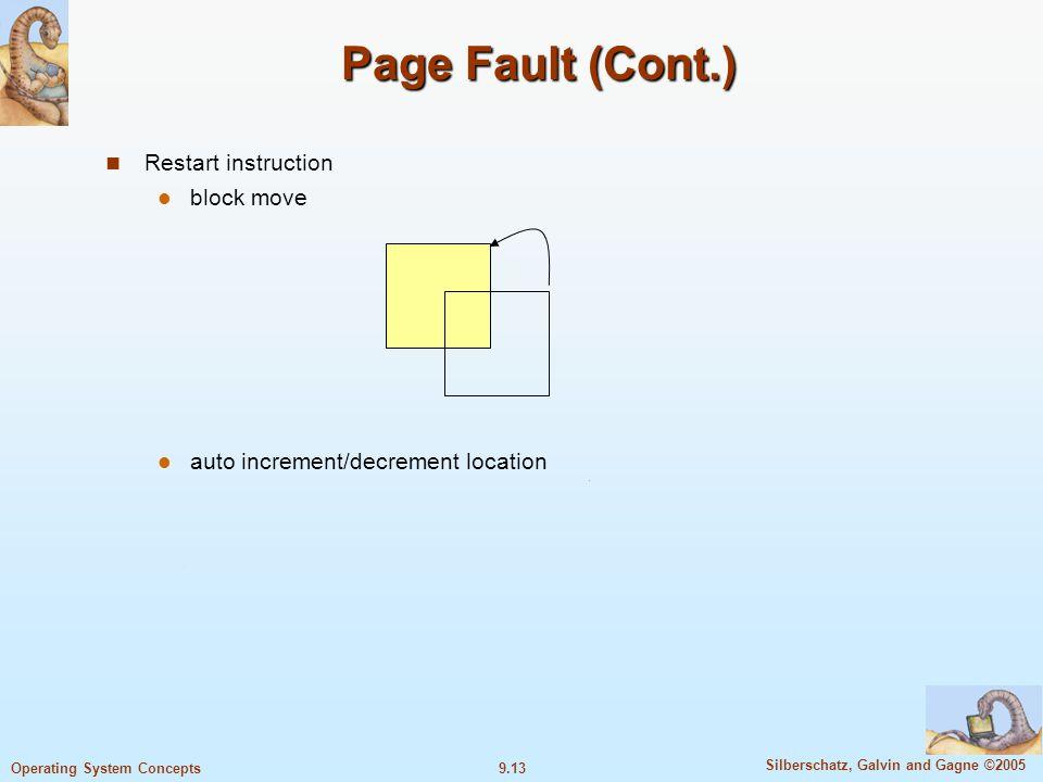 Page Fault (Cont.) Restart instruction block move