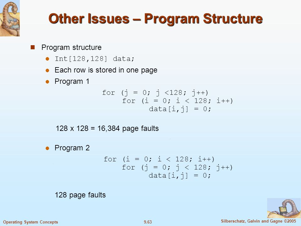 Other Issues – Program Structure