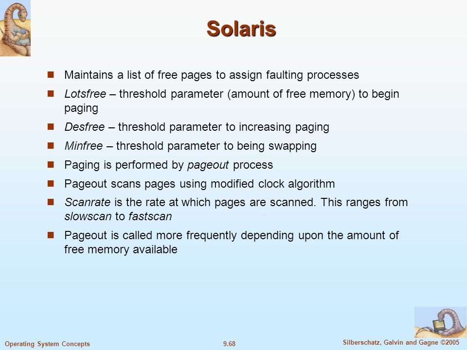 Solaris Maintains a list of free pages to assign faulting processes
