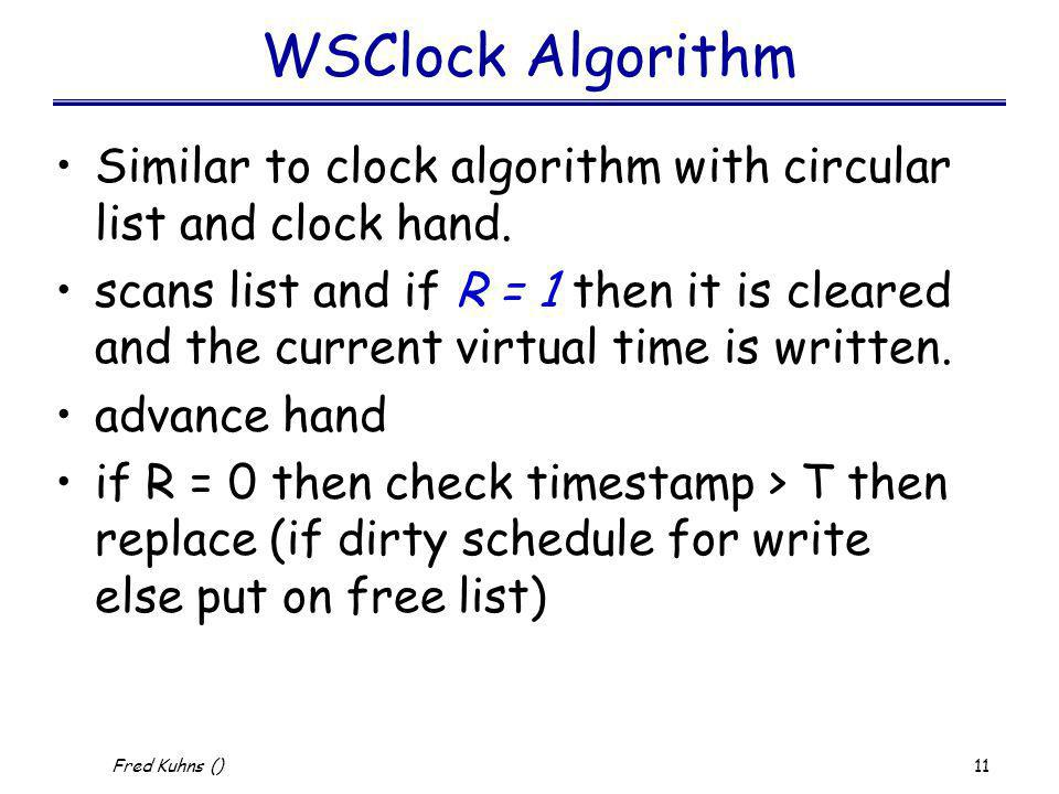 WSClock Algorithm Similar to clock algorithm with circular list and clock hand.