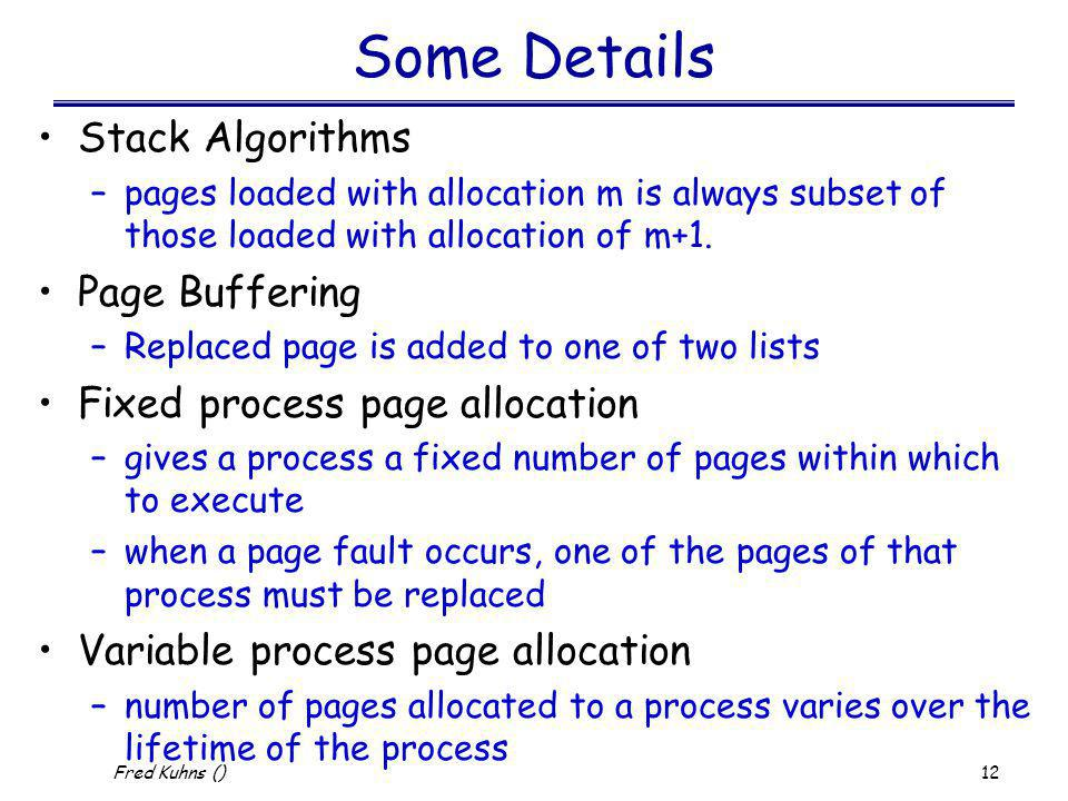 Some Details Stack Algorithms Page Buffering