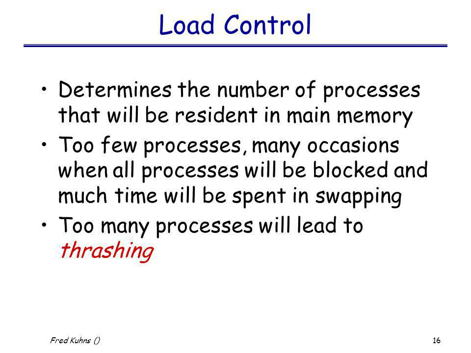 Load Control Determines the number of processes that will be resident in main memory.