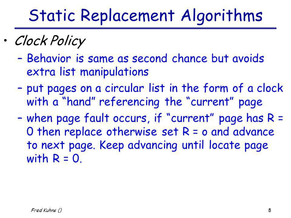 Static Replacement Algorithms