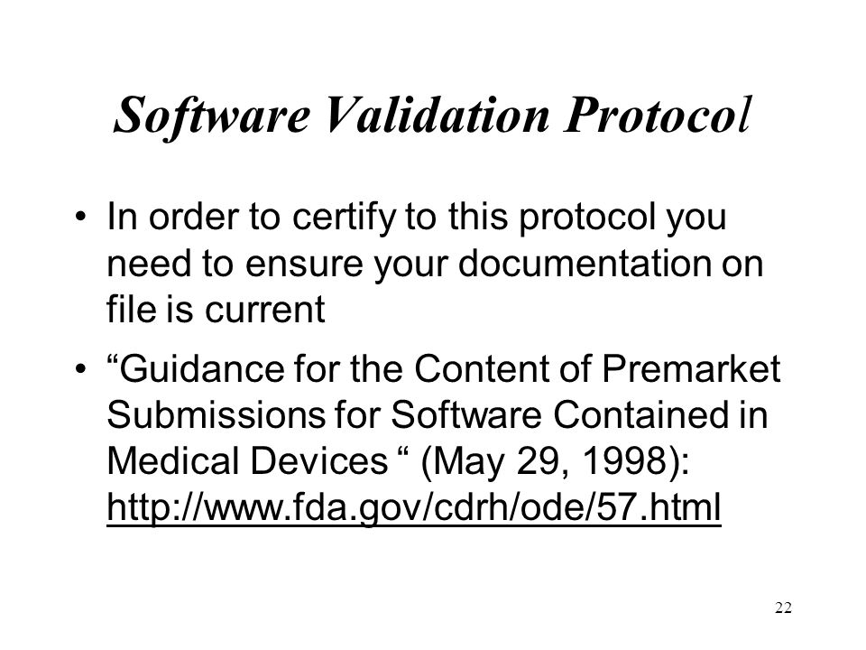 Software Validation Protocol
