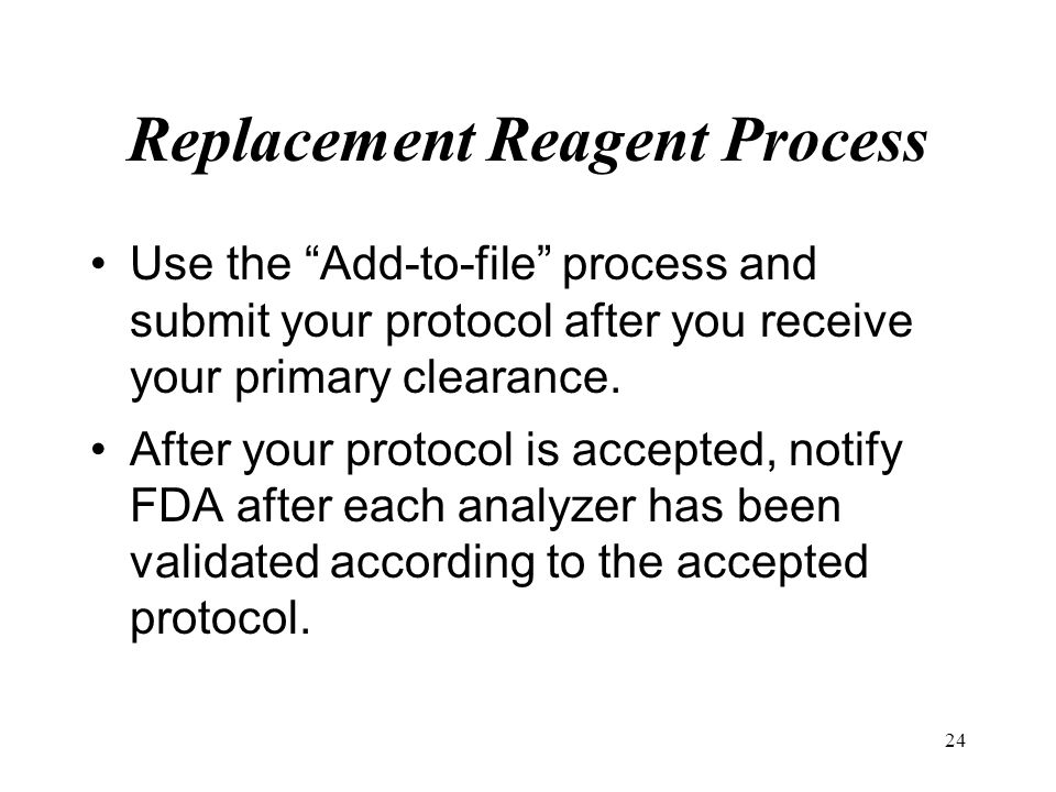 Replacement Reagent Process