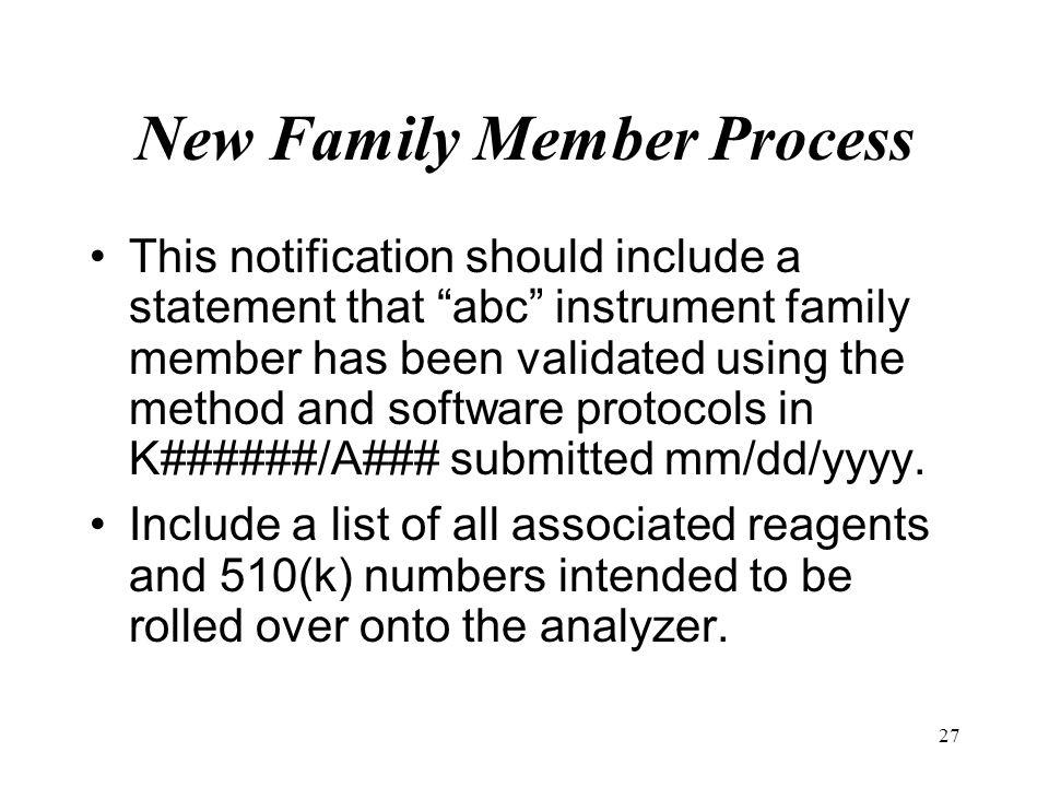 New Family Member Process