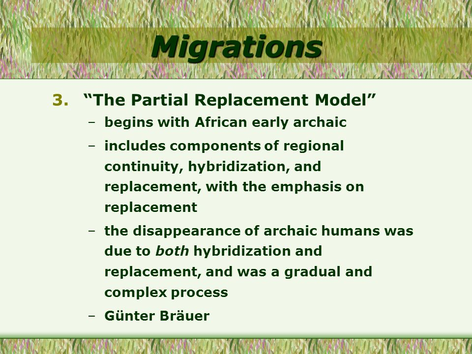 Migrations The Partial Replacement Model