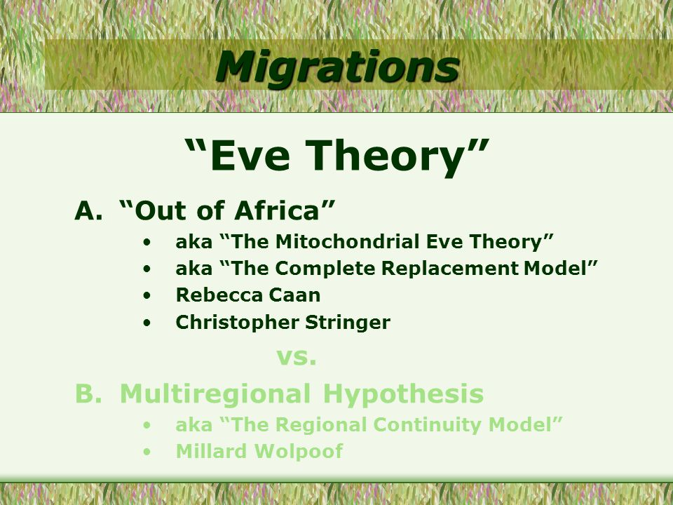 Migrations Eve Theory