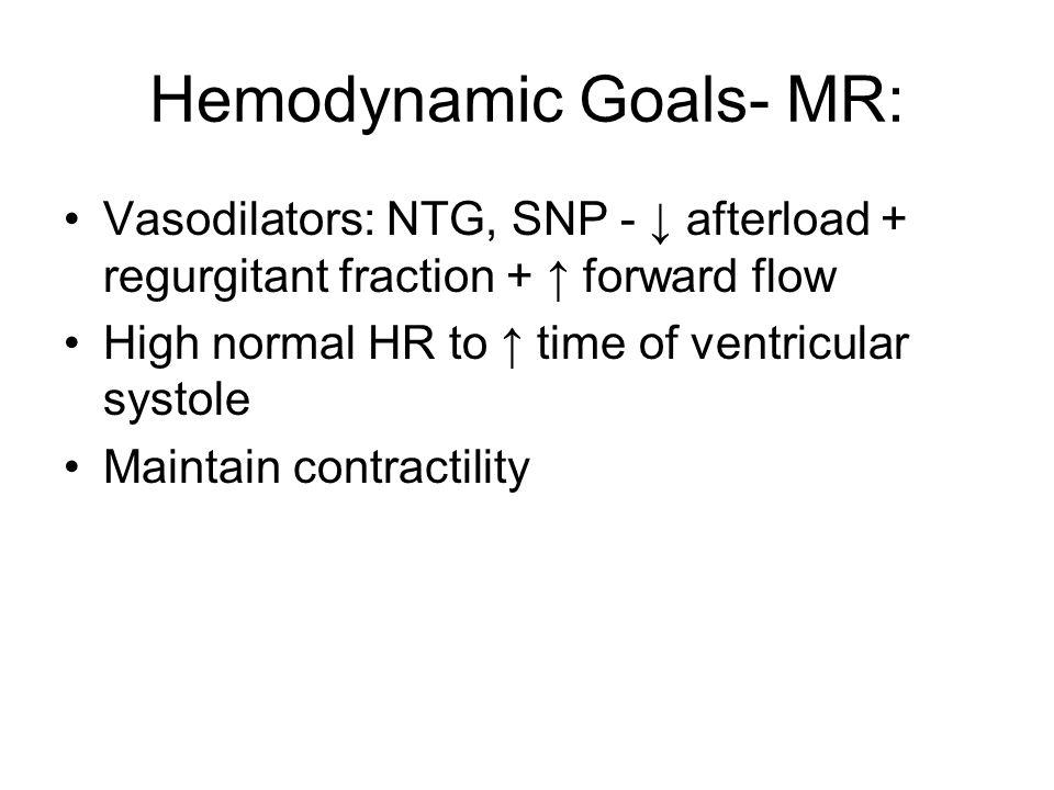 Hemodynamic Goals- MR: