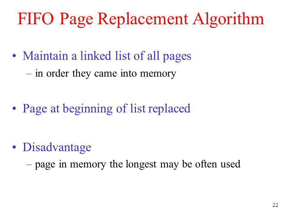 FIFO Page Replacement Algorithm