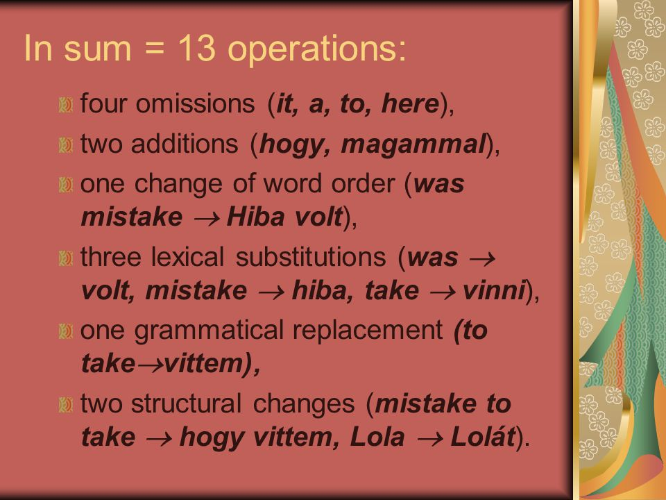 In sum = 13 operations: four omissions (it, a, to, here),