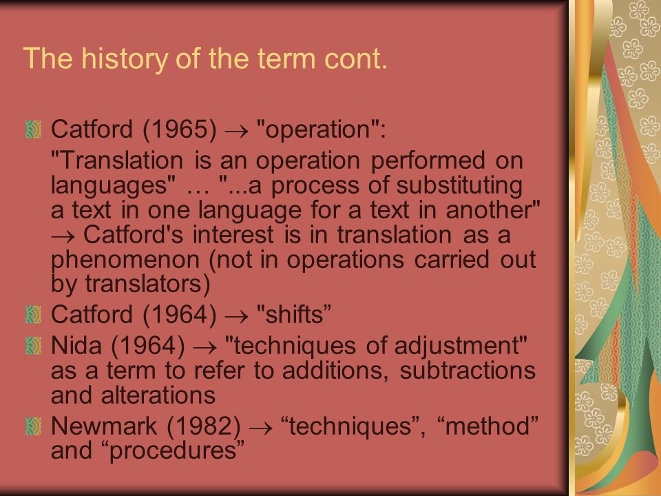 The history of the term cont.
