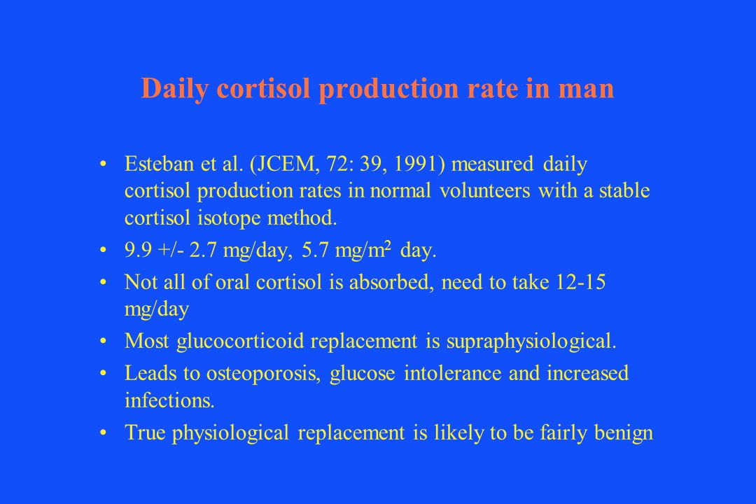 Daily cortisol production rate in man