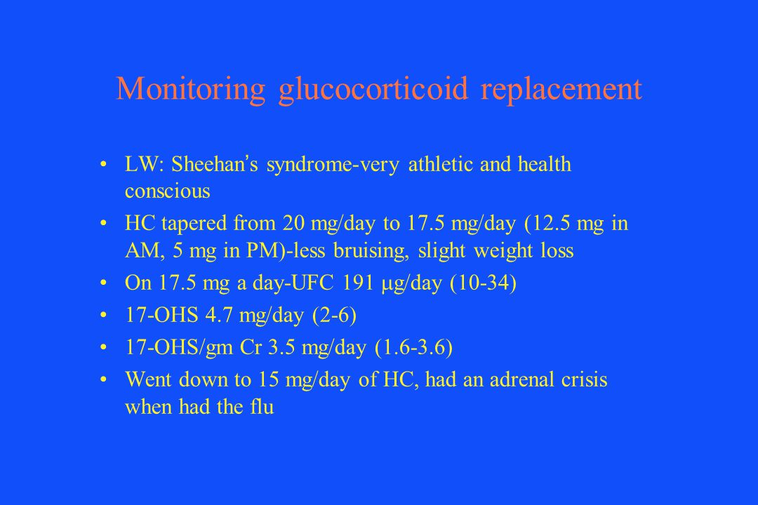 Monitoring glucocorticoid replacement