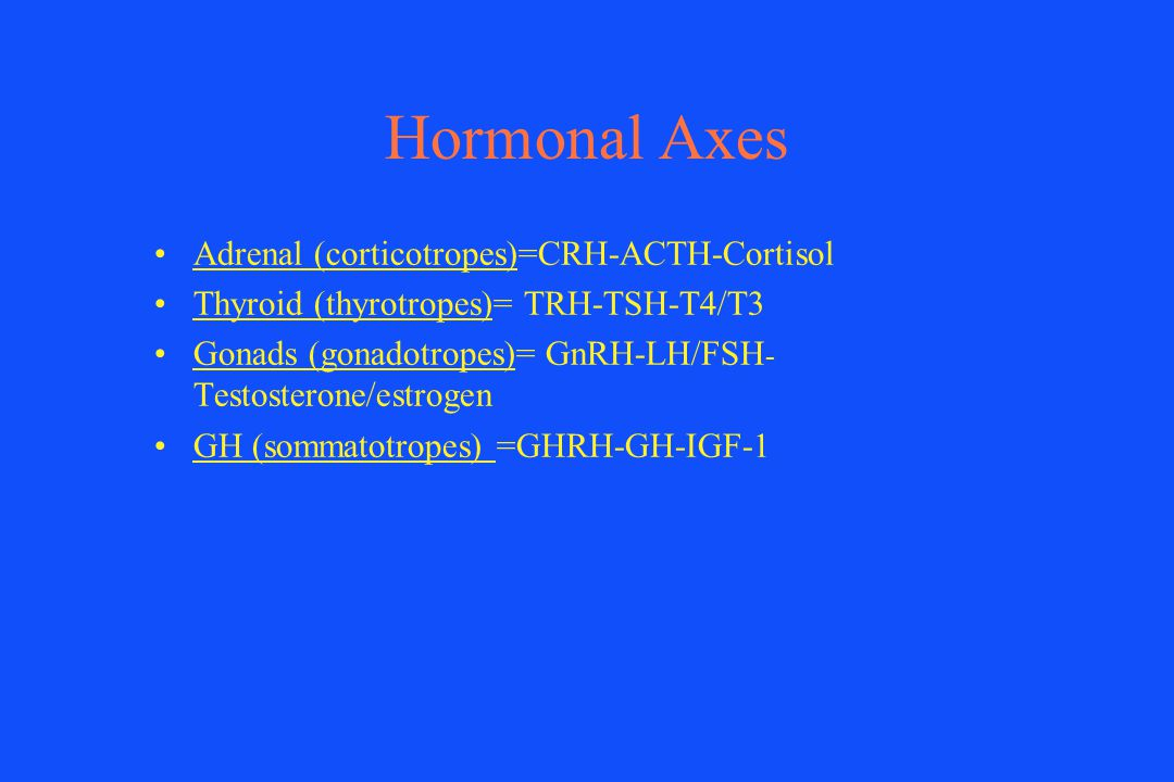 Hormonal Axes Adrenal (corticotropes)=CRH-ACTH-Cortisol