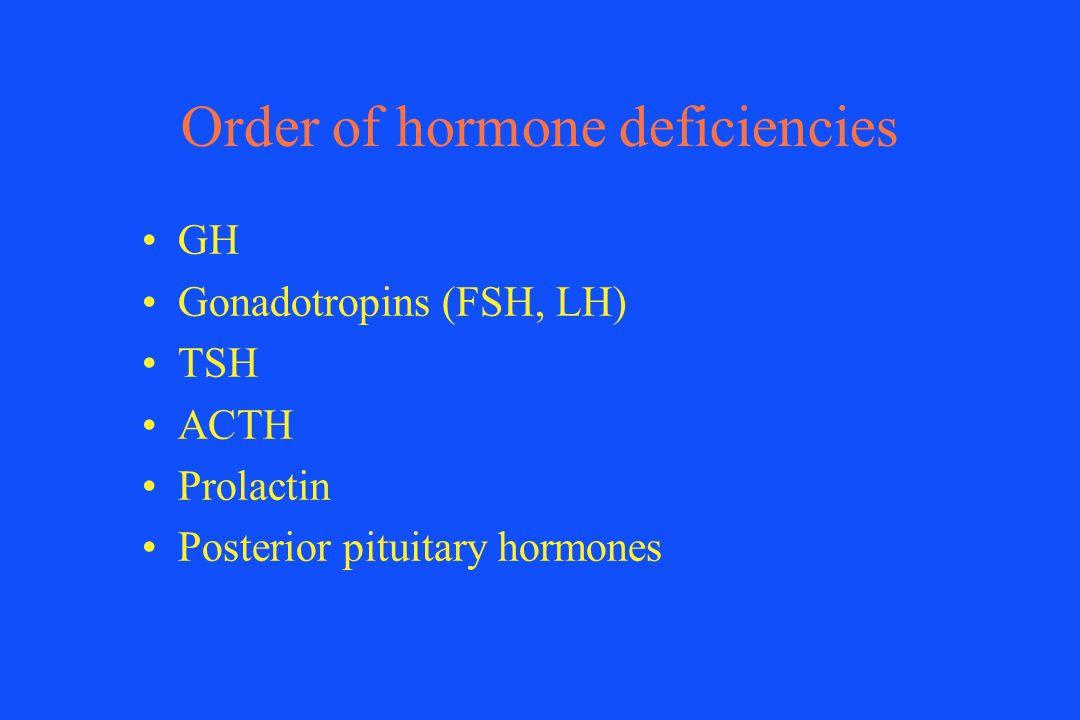 Order of hormone deficiencies