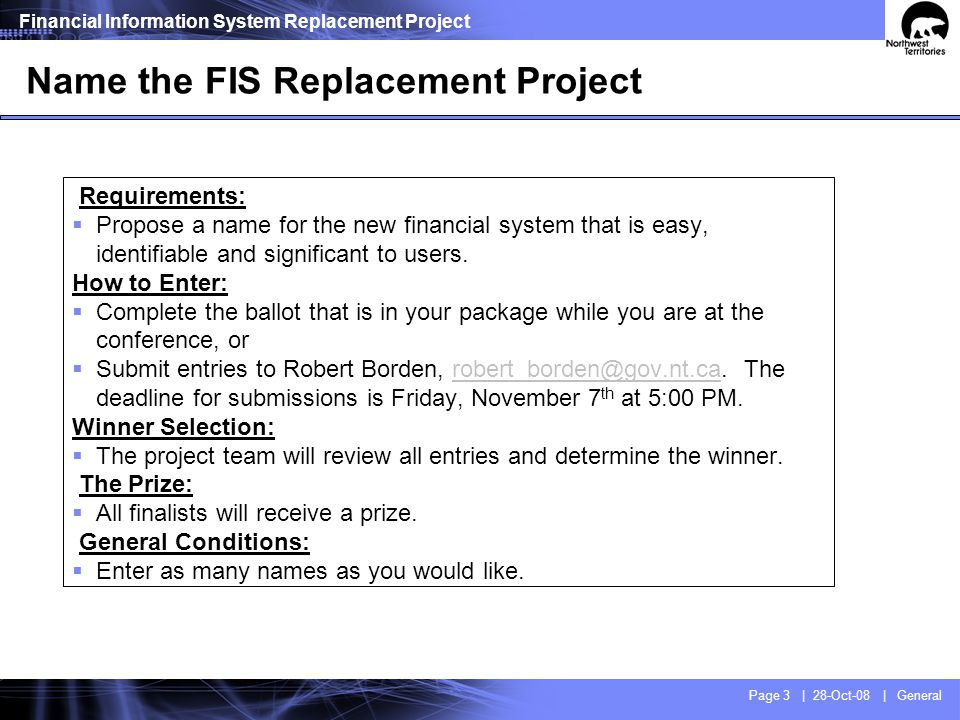 FIS Replacement Project - Vision