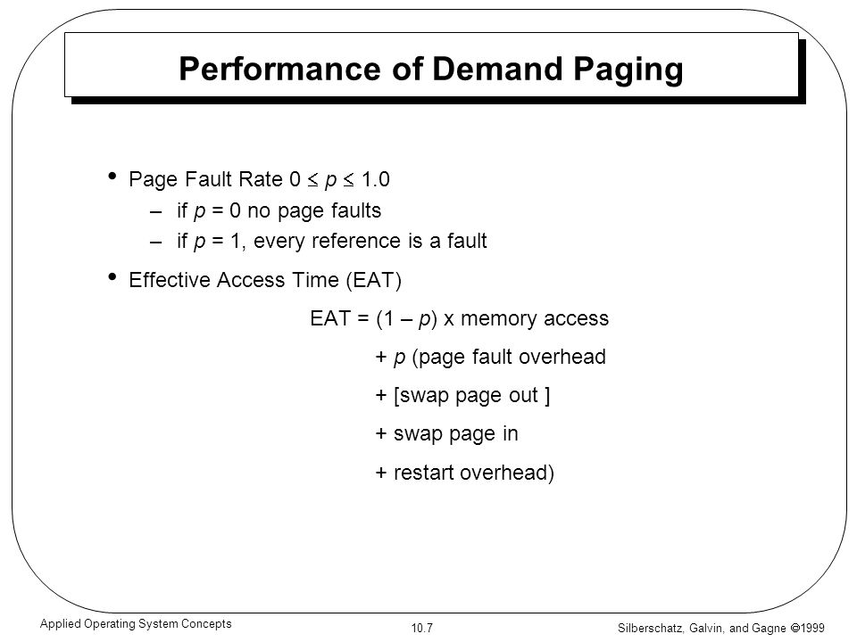 Performance of Demand Paging