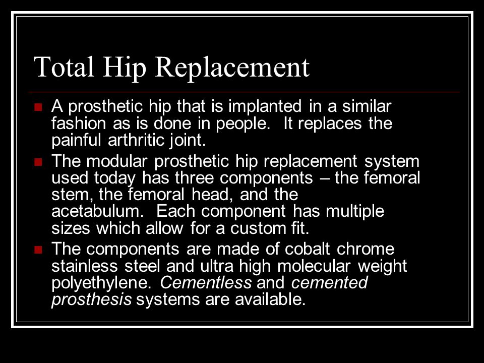 Total Hip Replacement A prosthetic hip that is implanted in a similar fashion as is done in people. It replaces the painful arthritic joint.