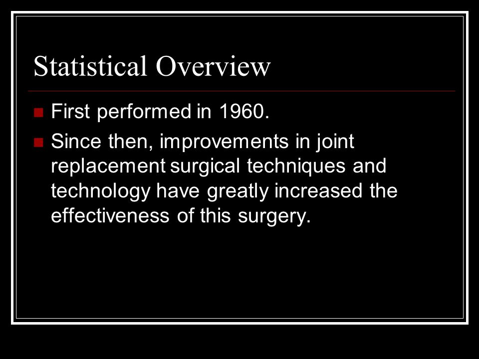 Statistical Overview First performed in 1960.