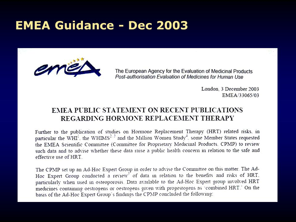 EMEA Guidance - Dec 2003