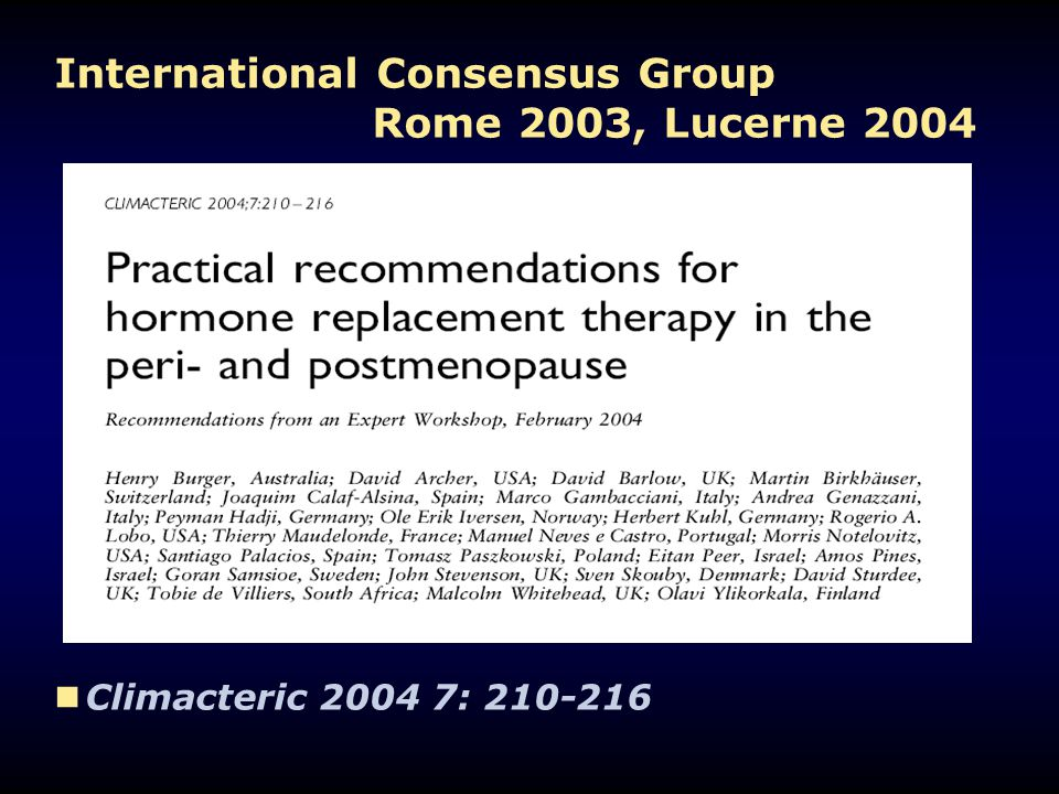 International Consensus Group Rome 2003, Lucerne 2004
