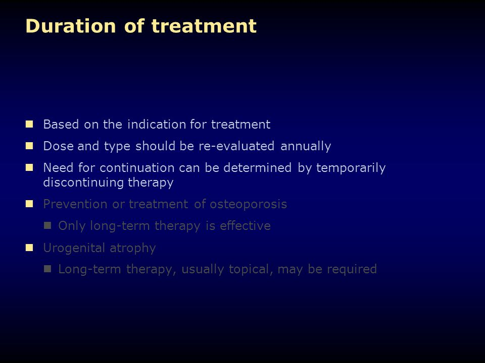Duration of treatment Based on the indication for treatment