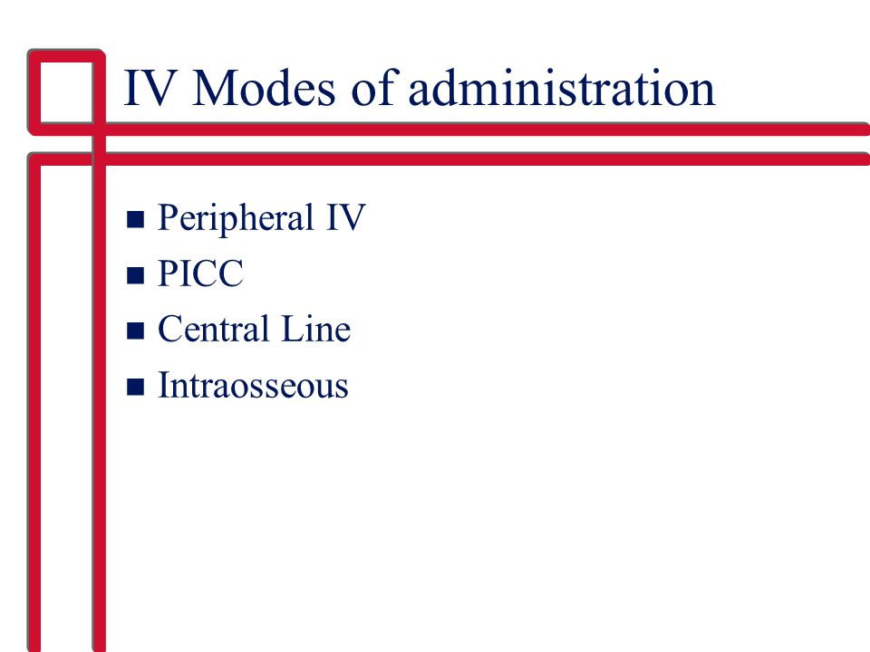 IV Modes of administration