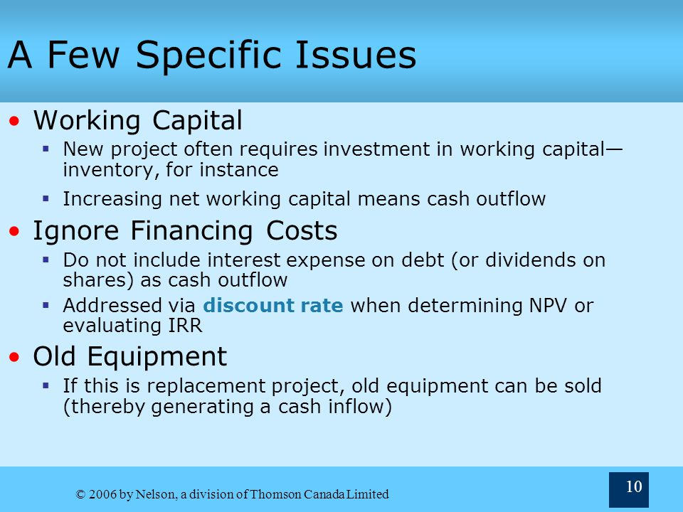A Few Specific Issues Working Capital Ignore Financing Costs