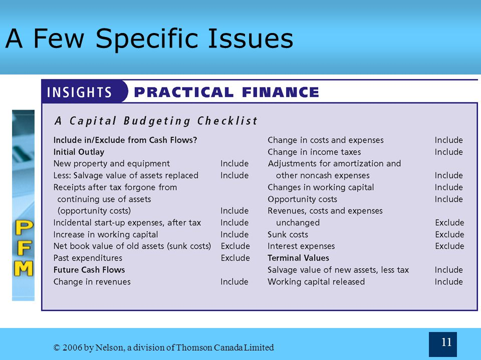 A Few Specific Issues © 2006 by Nelson, a division of Thomson Canada Limited