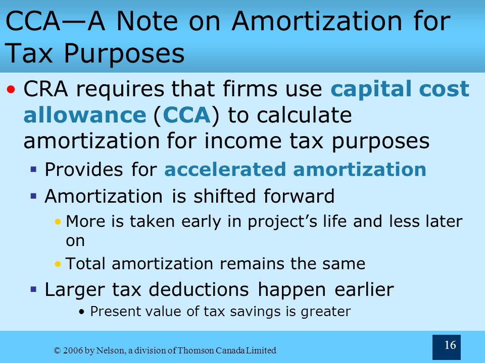 CCA—A Note on Amortization for Tax Purposes