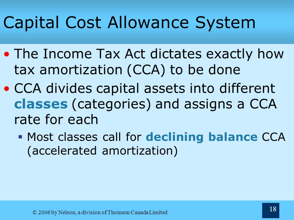 Capital Cost Allowance System