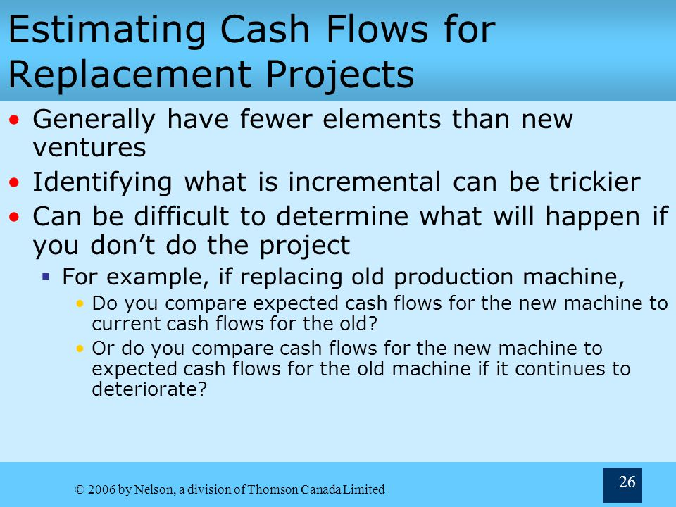 Estimating Cash Flows for Replacement Projects